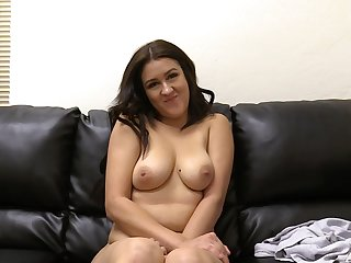 Horny Vanessa can take a whole fat cock in her shaved pussy