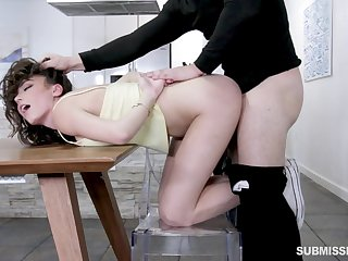 Teen slut Ashly Anderson rough fucked doggy style and swallows cum