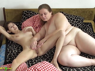 OldNanny Old and young woman licking and toying