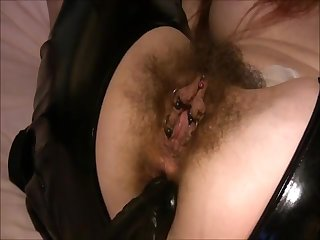 Big dick stuffing a heavily pierced hairy mature pussy