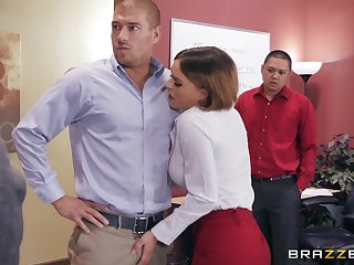 Horny office slut Krissy Lynn caught swallowing cum by her boss