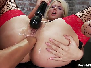 Big-Bosomed blondie ass fucking fisted in dungeon