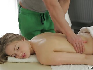 Natural cutie with sexy titties Milana Fox turns massage into brutal sex