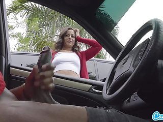 Hot Teen Gives Me Hand Job in Public Lot after She Sees My BBC