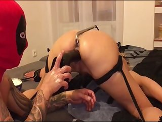 My tied slave Romana gets extreme deep fisted in her asshole and extreme deep penetration
