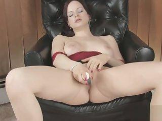 Horny Brunette Masturbating Her Pussy