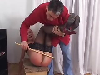 Hard domestic spanking after work