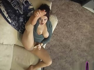 Nylons and Pantyhose Masturbation on the Couch - ALHANA WINTER - Old Clip