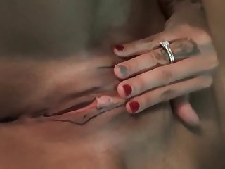 Horny girlfriend pleasures her juicy pussy with her fingers