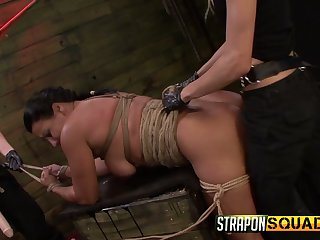 Wild lesbian bondage sex games with brutal masturbation are must see