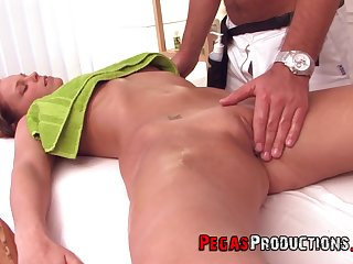 Tea got surprised with a fingering and hard sex by her masseur