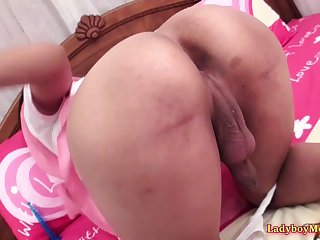 Teen Thai shemale Gof gets ass spanked, because she was a bad girl today.