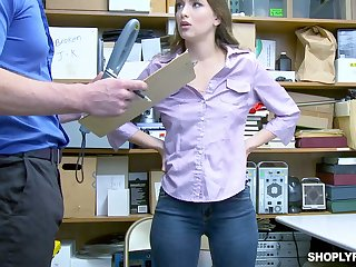 Lovely shoplifting chick Izzy Lush gets her mouth and pussy punished