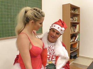 Perverted Santa Clause gives Aislin a new vibrator for good behavior