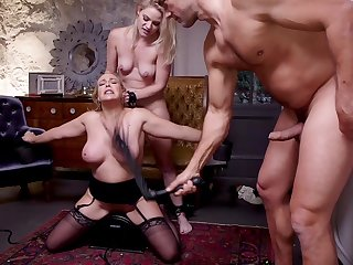 Blonde sluts Lisey Sweet and Angel Allwood share a dick tied up