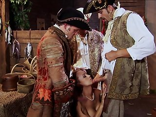 Trina Michaels Triple Teamed By Naughty Pirates With Huge Dicks