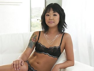 Small tittied Korean porn model Saya Song gives an interview