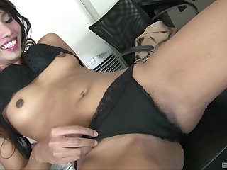 After pussy licking cute Asian is ready to take a friend's strong pecker