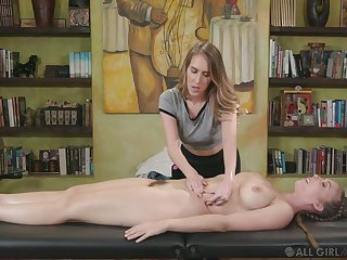 Voluptuous masseuse Cadence Lux gives a cunnilingus to busty client Lena Paul
