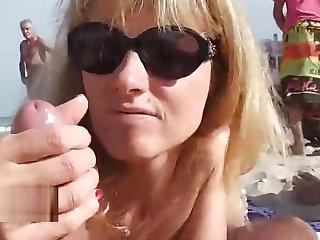 Naomi on a public beach cap d'agde friends blowjob slut