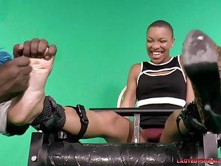 Ebony Short Haired Babe With Big Ticklish Feet