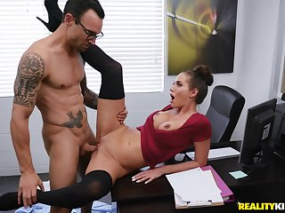 The office lady fucks with the new guy in insane XXX scenes