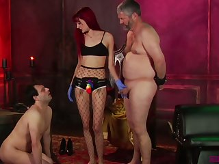 Kinky mistress Andi Rye makes two bisexual dudes suck each others cocks