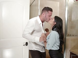 Lewd babe Gina Valentina gives a tugjob in the shower and gets her pussy fucked