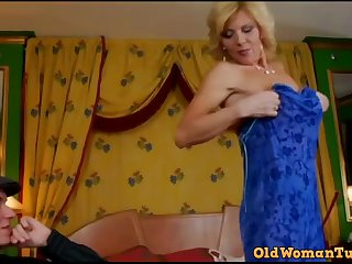 German mom tries on a blue dress - lady a.