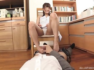 Japanese office babe deals her boss's dick in a perfect POV