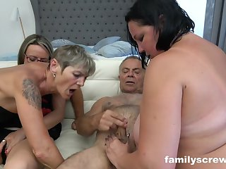 A gang of ultra-kinky grandmas and 2 insatiable dudes are having gang fucky-fucky in the bedroom