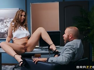 Tattooed guy fucked sext boss Lena Paul in her office