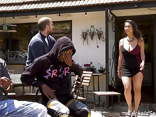 Curvy Asian housewife Sharon Lee fucks two black men in front of her man