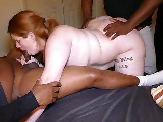 SBBW PAWG in amateur interracial gangbang with 2 big black dicks