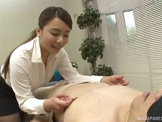 Sexy Japanese secretary enjoys sex with her colleague in her office