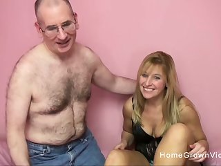 Big tit blonde sucks and fucks a creepy older man