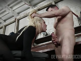 Blonde whore gags with cock then fucks like a pro