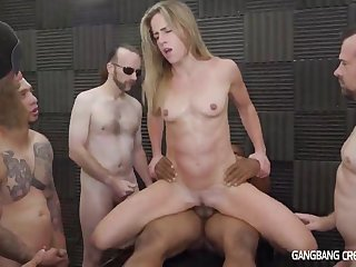 Small tits mom in gangbang orgy with creampie cumshots
