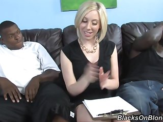 interracial threesome with horny blonde slut and two black muscled studs