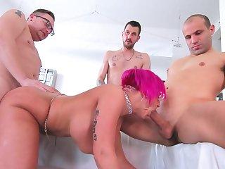 Three men fuck the married cougar until she swallows their jizz