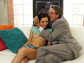 Brooke Haze is fucking her elderly neighbor for money, while his wife is out of town