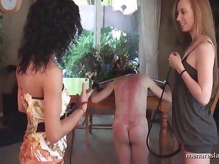 Dommes Whip Naked male slave