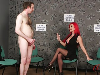 Naked man jerks off while kinky Roxi Keogh drops her clothes