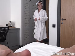 Sweet Asian nympho walks around the house naked and she loves anal sex