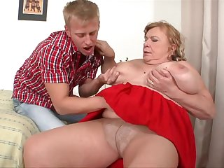 MEGA Big Tits Granny Getting Fucked, Sucking on Cock - Big tits