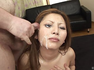 Full bukkake for a fine Japanese with sexy curves