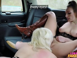Squirting Lesbian Orgasms in Taxi